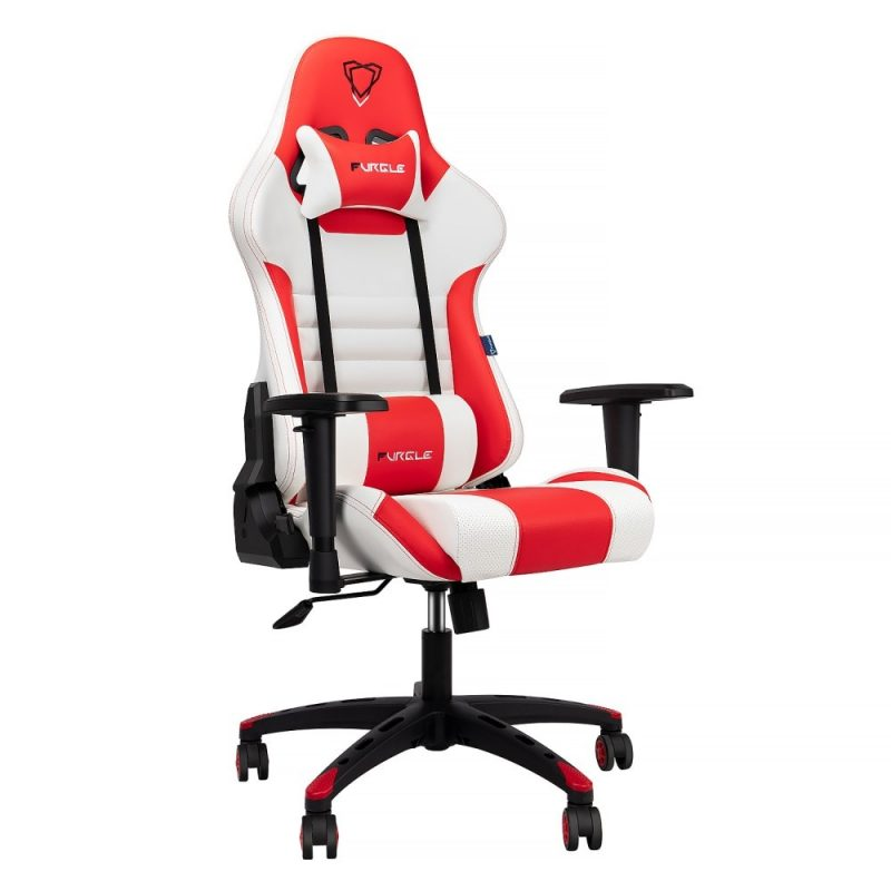 Modern Italian Leather Race Style PC Gaming Chair – White & Red