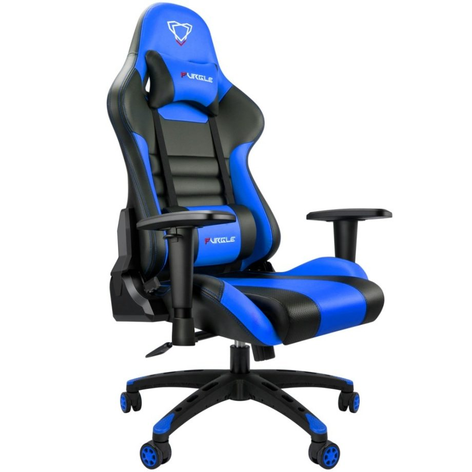 Modern Italian Leather Race Style PC Gaming Chair – Black & Blue