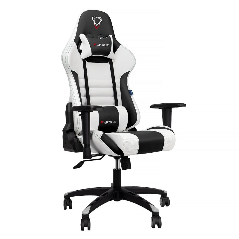 Modern Italian Leather Race Style PC Gaming Chair – White & Black