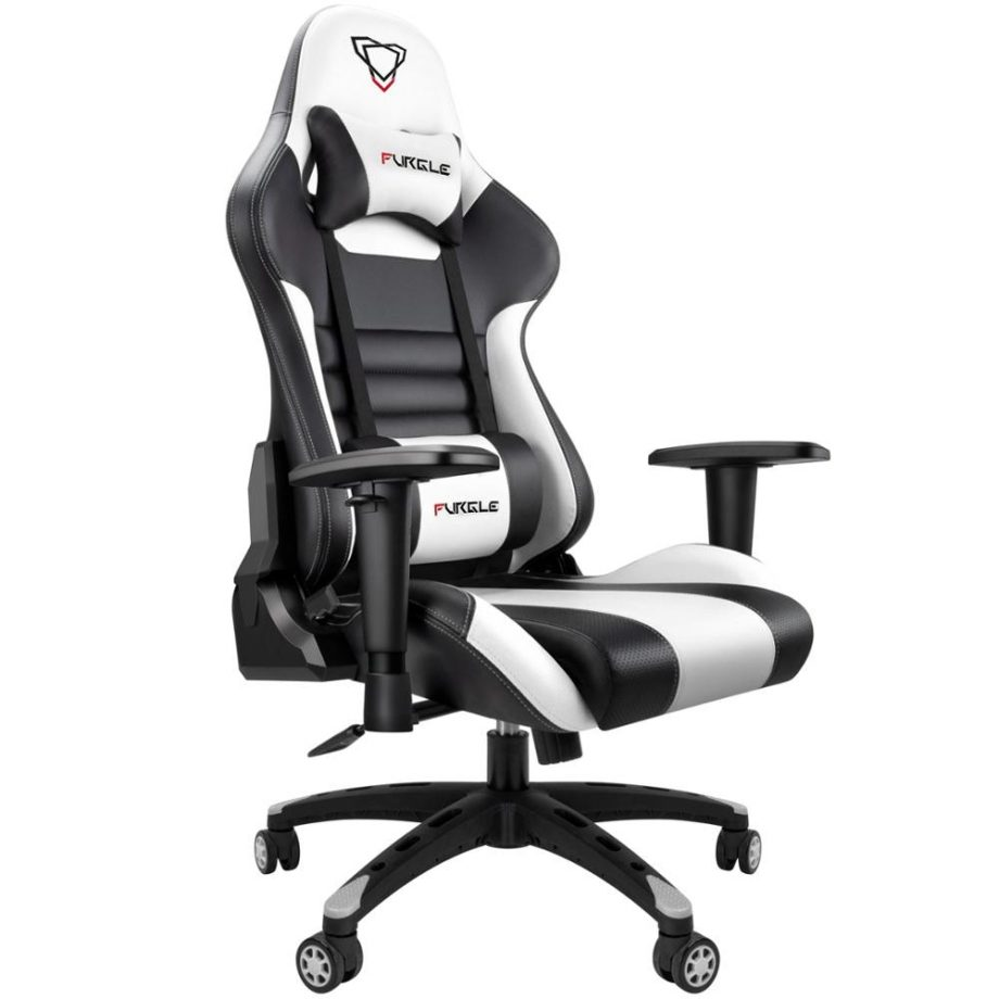 Modern Italian Leather Race Style PC Gaming Chair – Black & White