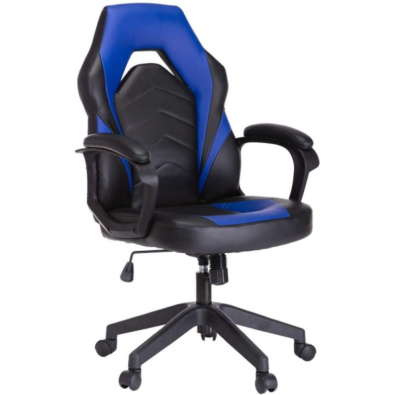 Black & Blue E-sport Leather Computer Gaming Chair