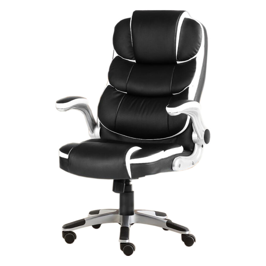 Black Leather Ergonomic High-Back Executive Office Computer Chair